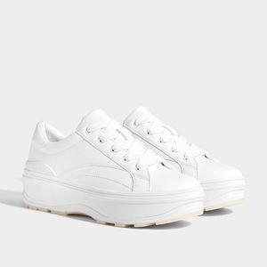 NWT Bershka Platform White Sneakers - Bershka